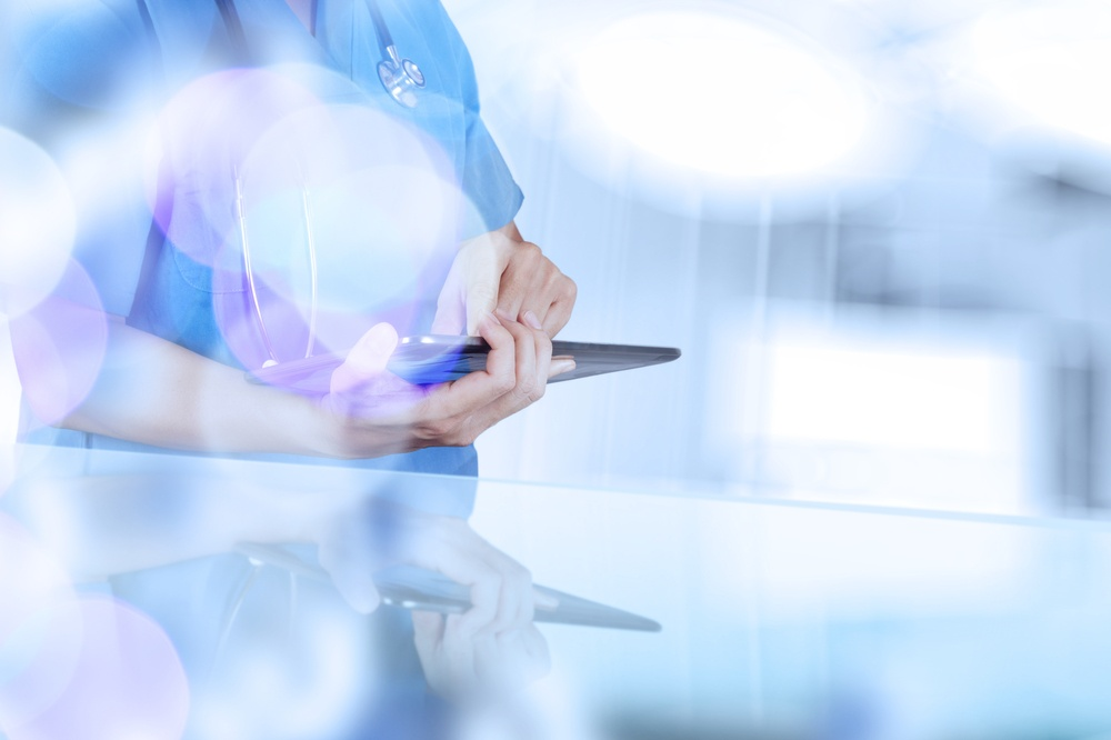 double exposure of success smart medical doctor working with abstract blurry bokeh  background as concept.jpeg